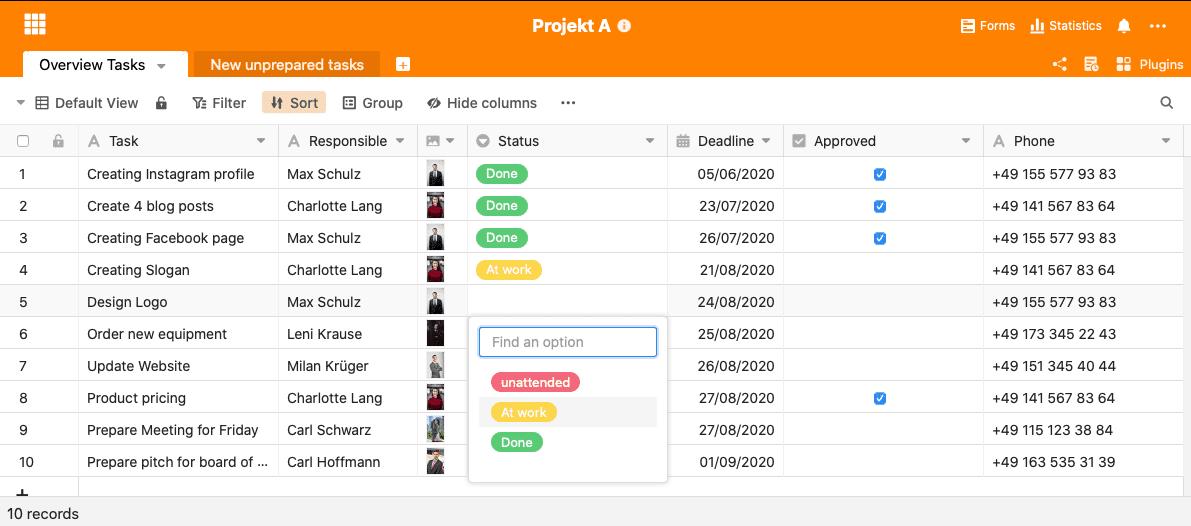 Projektmanagement Spreadsheet