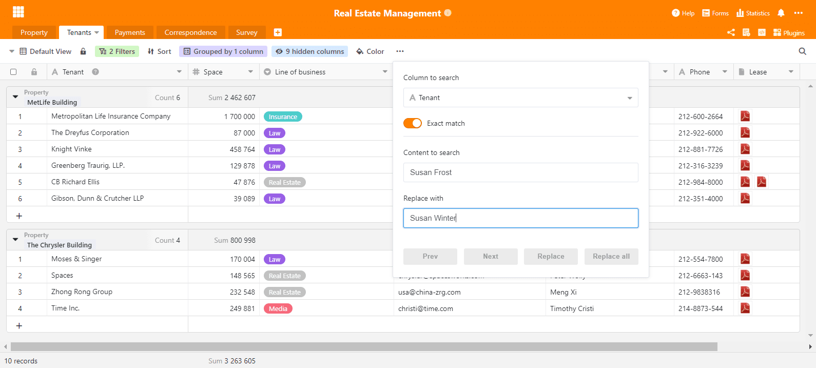 New feature in SeaTable 1.6.3: Batch replacement